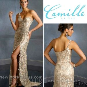 Camille La Vie dazzled beaded lace prom gown ✨